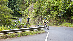 Man and woman biking up a curvy road