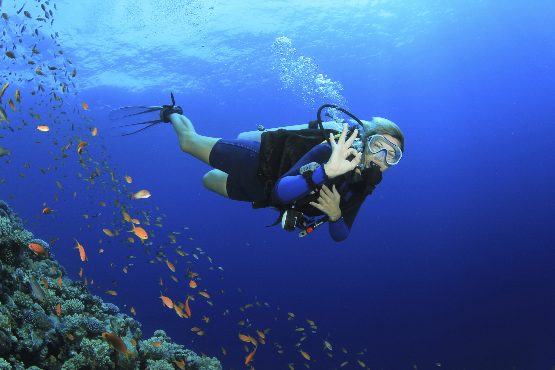 Woman scuba diving on a coral reef